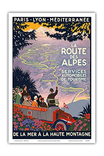 (The Alpine Route - Automobiles Tourism Services - from The Sea to The High Mountains - Vintage World Travel Poster by Roger Broders - Master Art Print - 12in x 18in)