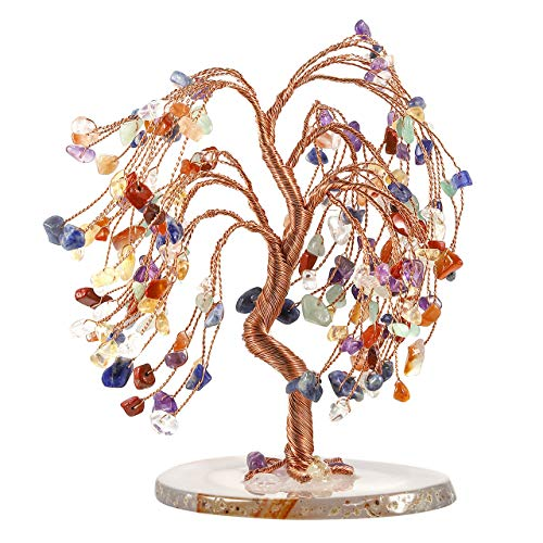 Top Plaza 7 Chakra Healing Crystals Copper Money Tree Wrapped On Natural Agate Slices Geode Base Lucky Reiki Feng Shui Figurine ()