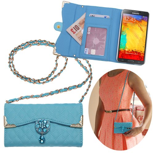 Xtra-Funky Exclusive Luxury Faux Leather Quilted Handbag Purse Style Case with Carry strap and Beautifully Decorated Crystal Flower For Samsung Galaxy Note 4 - Blue (Includes a Mini Stylus and - Like Baker Designers Ted