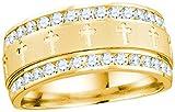 14k Yellow Gold Mens Round Diamond Grecco Christian Cross Wedding Anniversary Band Ring 1.00 Ctw