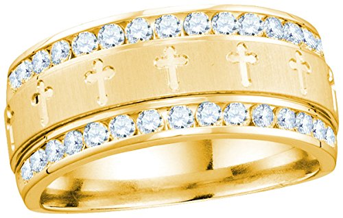 14k Yellow Gold Mens Round Diamond Grecco Christian Cross Wedding Anniversary Band Ring 1.00 Ctw by JAWAFASHION