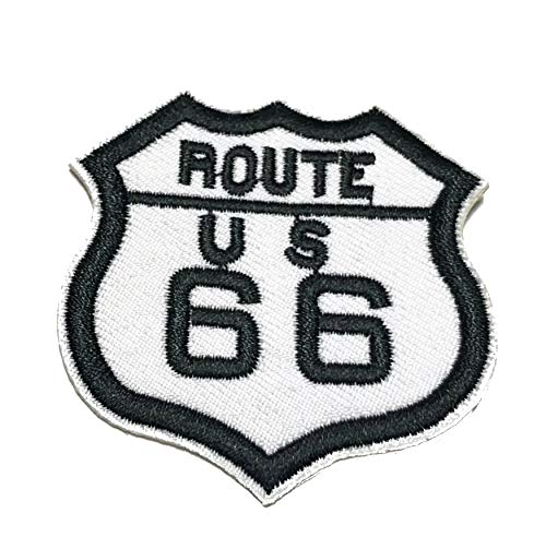 Route US 66 Embroidered Patch Tactical Military Morale Biker Motorcycle Quote Saying Humor Series Iron or Sew-on Emblem Badge Appliques Application Fabric Patches]()