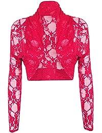 FASHION FAIRIES Ladies Lace Bolero Cropped Shrugs Front Open Cardigan