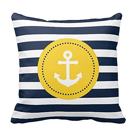 Anclaje de almohada Funda para sofá amarillo blanco azul ...