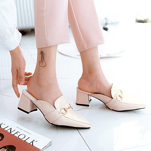 Fermé Décoration Studio Y2Y avec Vernis Bout Pointu Beige pour 6 Bout Carre Ete Sexy cm Mules Chaussures avec Métal Femmes en Talon Fx6aBx
