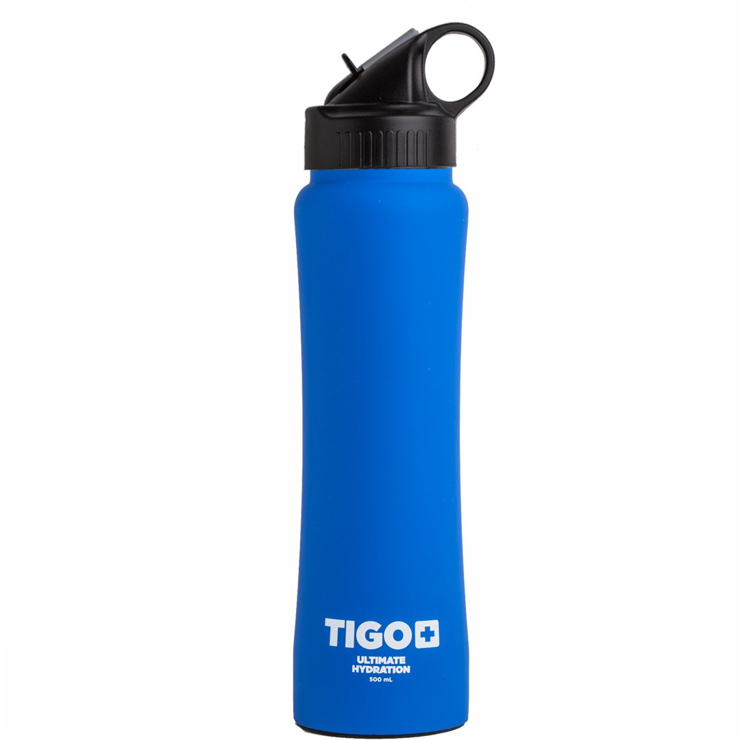 TIGO++ Stainless Steel Doble Wall Insulated Sport Water Bottle 17 ounces Bpa free working out bottle with straw Blueberry-Pomegranate by TIGO+