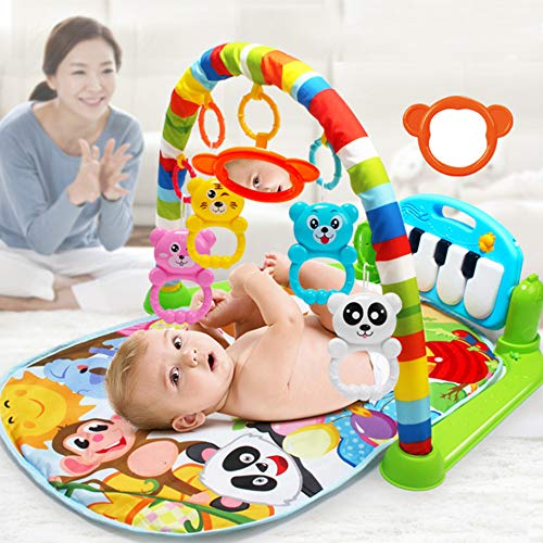 ADSRO 2 in 1 Baby Game Carpet, Infant Children's Music Pad and Keyboard 0-18 Months Fitness Rack Crawling Mat Toy Intelligence Development