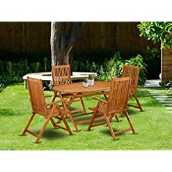 Garden and Outdoor This 5 Piece Acacia Patio Dining Sets includes an outdoor table and 4 foldable outdoor chairs patio dining sets