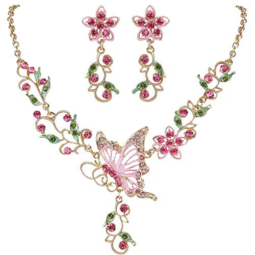 (EleQueen Women's Austrian Crystal Butterfly Flower Leaf Necklace Earrings Set Gold-Tone Pink)
