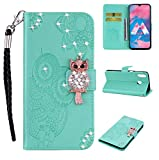 Amocase Wallet Case with Black 2 in 1 Stylus for Samsung Galaxy A20/A30,3D Bling Gems Owl Magnetic Mandala Embossing Premium Strap PU Leather Card Slot Stand Flip Case for Samsung Galaxy A20/A30 - Mint Green