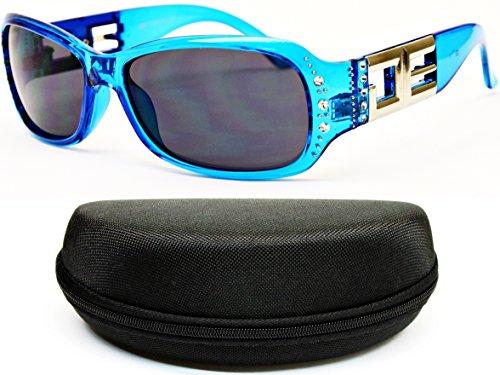 D1056-cc Designer Eyewear Womens Rectangular Sunglasses (76 Icicle Blue, (Icicles Sunglasses)