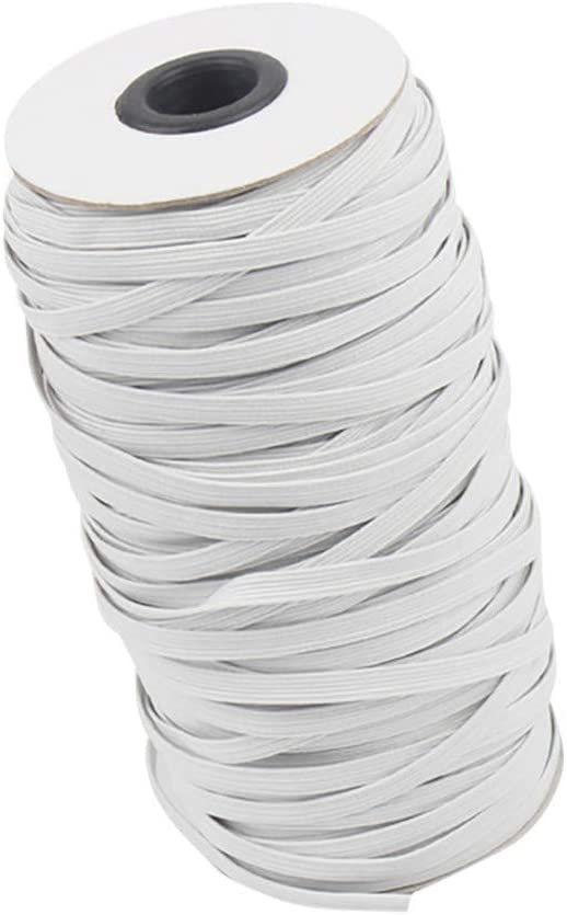 White, 4mm 50m Flat Elastic Bands Braided Elastic Cord,AJFIEF Heavy Stretch Elastic Bungee High Elasticity Knit Rope for Sewing Crafts DIY//Ear Band Loop//Bedspread//Cuff
