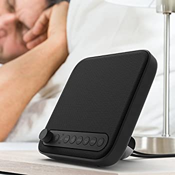 Wave Premium Sleep Therapy Sound Machine (Black) | 2nd Generation with Improved Sound | 6 Relaxing Sounds – White Noise, Fan, Ocean, Rain, Stream, and Summer Night – Plus Timer and USB Output Charger