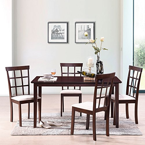 Harper&Bright Designs 5 Piece Dining Set Rubber Wood Construction 4 Person Dining Table with Microsuede Upholstered Chairs (5 Piece) (Piece 5 Back Slat)