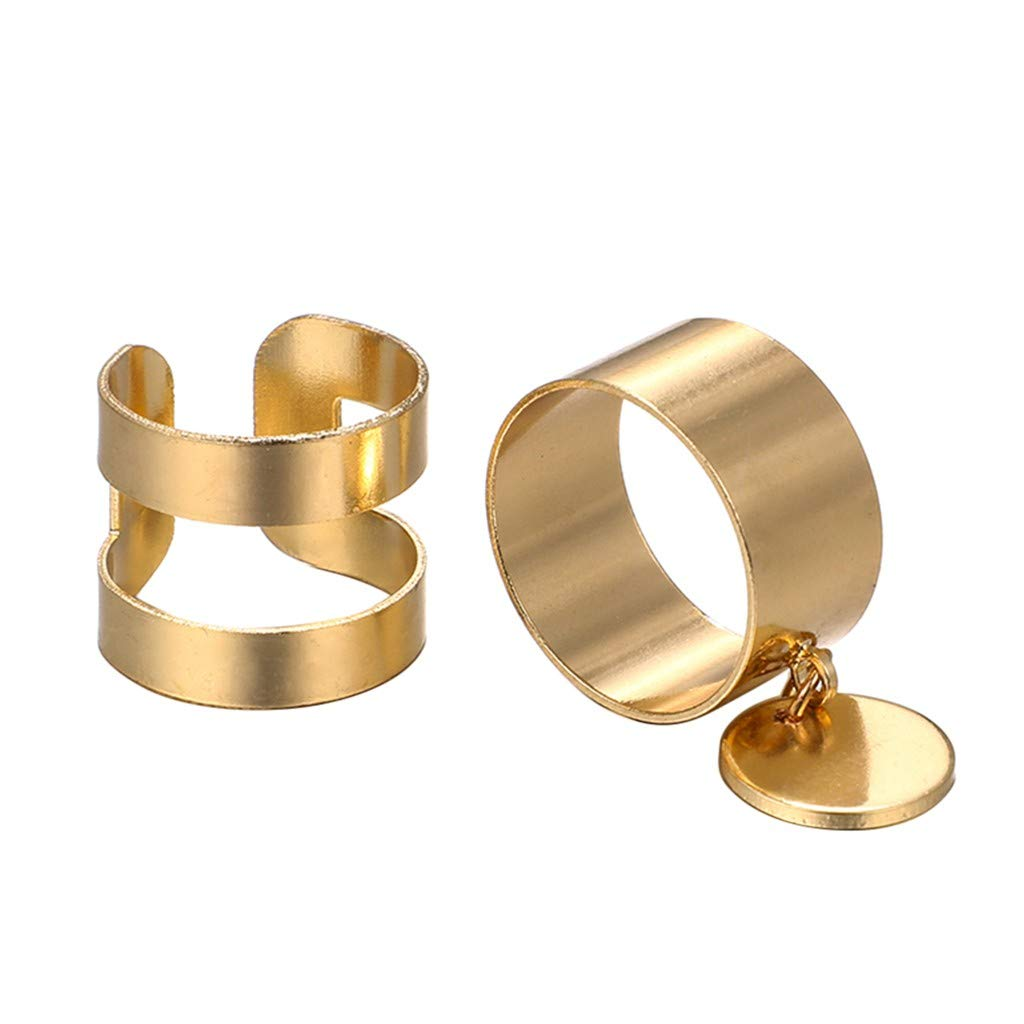 Plain Wide Version Circle Open Metal Knuckle Ring 2 Pieces
