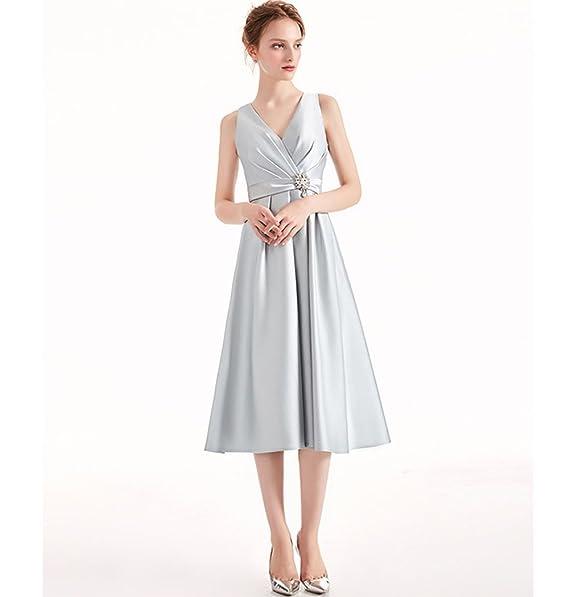 de63af268d39 giddesss Women s Elegant Tea Length Satin Prom Homecoming Dresses   Amazon.ca  Clothing   Accessories
