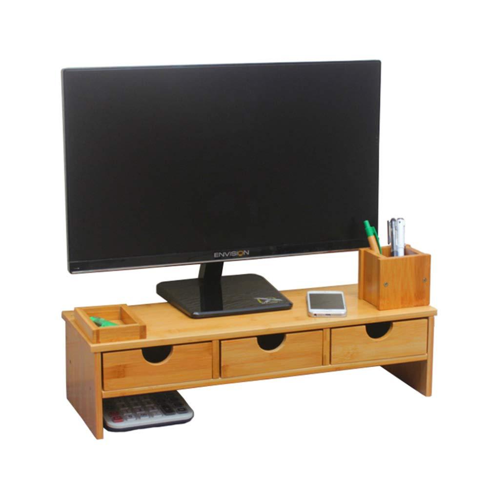 LIULIFE Bamboo Computer Monitor Stand Riser Laptop Notebook Stand Desktop Storage Organizer, with Pen Holder,B