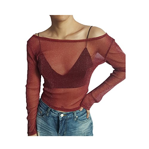 Femme Tops haut chic à manche longue sexy transparent épaule nue élégant Slim et mode Pull-over Casual femme t shirt automne printemps été