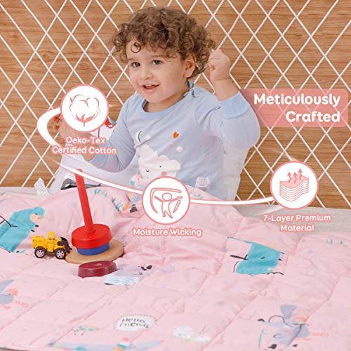 Sivio Weighted Blanket for Children Teens (3.2 kg, 105x150 cm), 100% Natural Cotton Heavy Blanket with Safe Glass Beads, Reduces Kids Anxiety, Insomnia, Pink Mouse