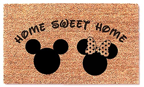 MaxEcor Mickey Minnie Mouse Home Sweet Home Doormat Welcome Fun Funny Entry Front Decor Door Mat Wedding Anniversary Birthday Gift