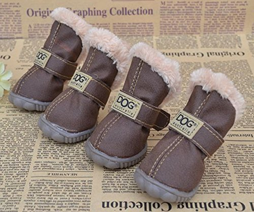 Angel Mall Latest Style DOG Australia Boots Pet Antiskid Shoes Winter Warm Skidproof Sneakers Christmas Gift 4-pcs Set (Dark Brown) (Angels Winter Boots)