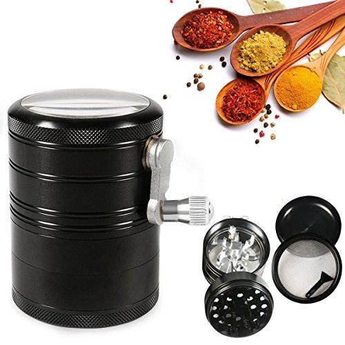 4 part herb grinder with crank - 6