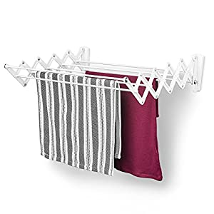 Polder 36101C Wall-Mount 24-Inch Accordion Clothes Dryer, White