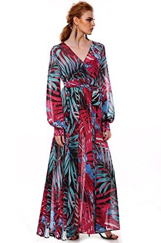 Teamyy Vestido largo de fiesta con mangas largas vestido estampado de gasa para las mujeres Morado