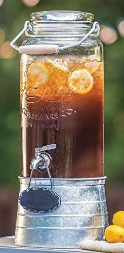 2.5 Gallon Galvanized Steel Stand Glass Beverage Dispenser in Vintage Look