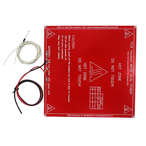 HESAI RED MK2B PCB Heatbed Hot Plate with LED and Resistor and Cable + 100K ohm NTC 3950 Thermistor Sensor for Reprap Mendel Prusa 3D Printer Support 12V 24V