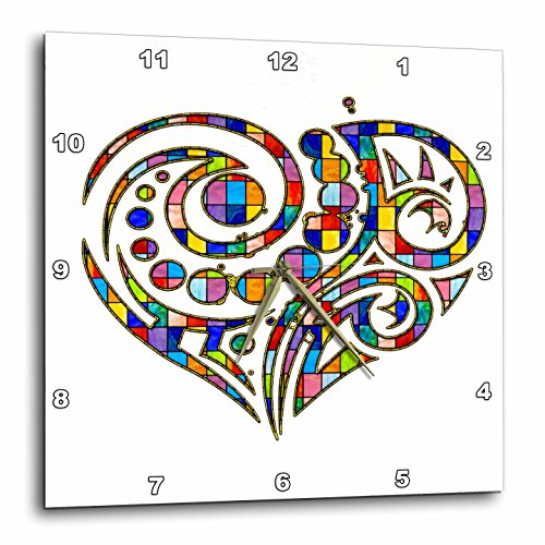 3D Rose Contemporary Stained Glass Effect Heart Wall Clock