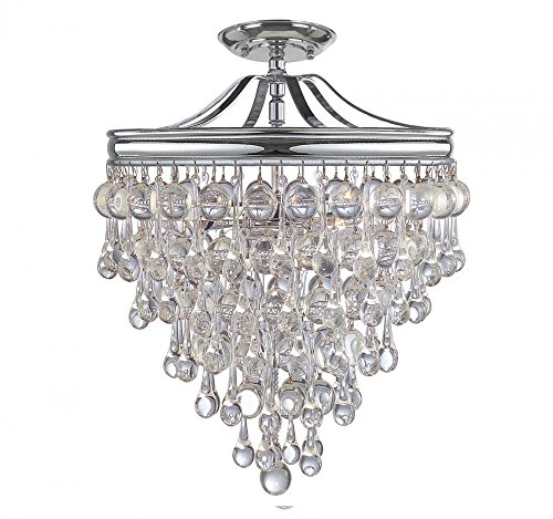 Crystorama 130-CH_CEILING Crystal Three Light Semi-Flush from Calypso collection in Chrome, Pol. Nckl.finish, (3 Forward Mount Light Ceiling)