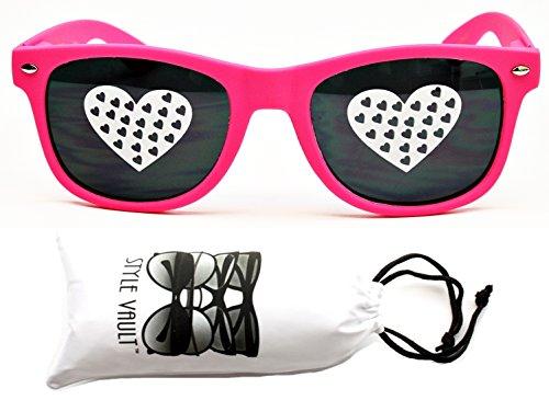 P1050-VP Style Vault Heart Print Wayfarer 80s Sunglasses (WHT - Sunglasses Pink 80s Style
