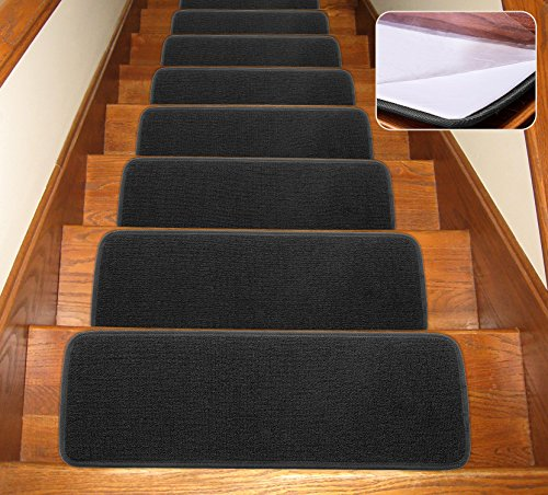 Seloom Non-Slip Stair Treads Carpet with Skid Resistant Rubber Backing Specialized for Indoor Wooden Steps, Removable Floor Rugs for Stairs(Black 13 Pieces,25.5×9.5In)