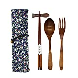 Japanese Natural Wooden Tableware Sets of 5-pieces (1 Spoon, 1 Chopsticks, 1 Fork, 1 Chopsticks Holder, 1 Tableware Bag) (Q15103)