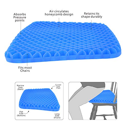 Gel Seat Cushion - Cool and Ventilated - Non-Slip , Seat Cushion - Relieves Sciatica and Coccyx Pain Housefar Photo #7
