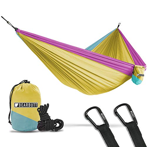 Bear Butt Lightweight Double Camping Parachute Hammock, Portable Two-Person Hammocks for Hiking & Backpacking (Yellow/Sky Blue/Pink)