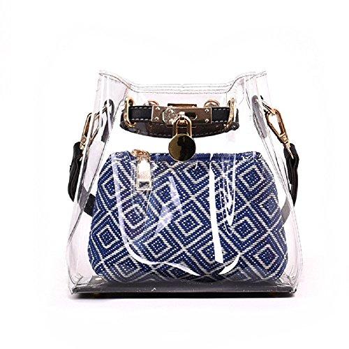 Sac de Bleu Nouveau Sac Sac Diagonale Seau Transparent Femme parcelle épaule ZHRUI PqHwX8q