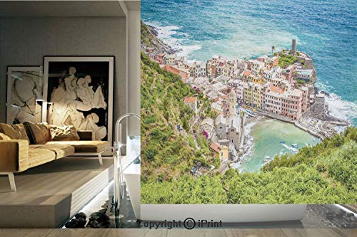 (Ylljy00 Decorative Privacy Window Film/View of Vernezza Famous Fisherman Village Cinque Terre Italy Ligurian Sea/No-Glue Self Static Cling for Home Bedroom Bathroom Kitchen Office Decor Multicolor)