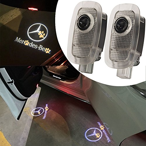 (For Mercedes Benz S Class, JKCOVER 2 Pieces Car Door LED Welcome Projector Logo Ghost Shadow Door Light LED Courtesy Laser Projector 3d)