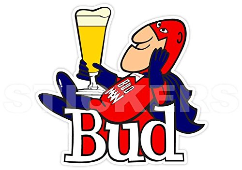 U$TORE Vinyl Sticker Bud Man Budman Budweiser Beer Logo Decorative Decal Retro Vintage for Wall Windows Truck Car Bumpers Laptop Water Resistant - 2