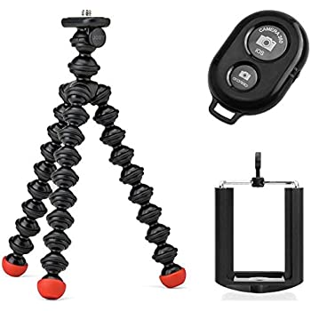 Joby GorillaPod Magnetic Tripod with Ivation Wireless Bluetooth Camera Shutter Remote Control for Apple and Android Phones and Ivation Universal Tripod Mount for Smartphones