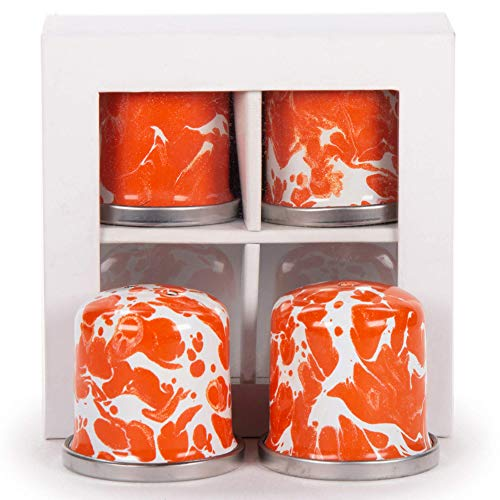 Golden Rabbit Enamelware - Orange Swirl Pattern - Set of 2 - Salt and Pepper Shakers