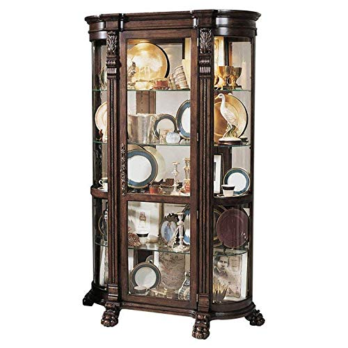 - Decorative Natural Wood Grain and Carved Glass Lighted Curio Cabinet with Glass Shelves + Basic Design Concepts Expert Guide