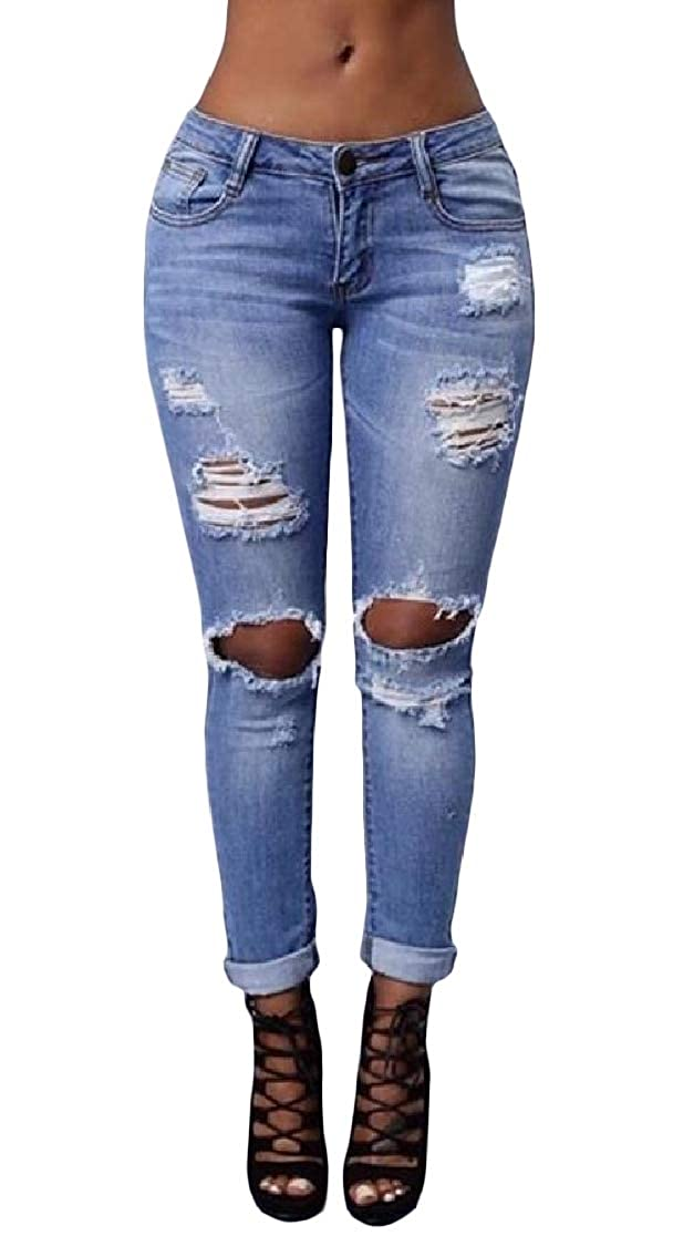 Comaba Women Cotton Mid-Rise Pocketed Stylish Slim Ripped Destroyed Denim Pants