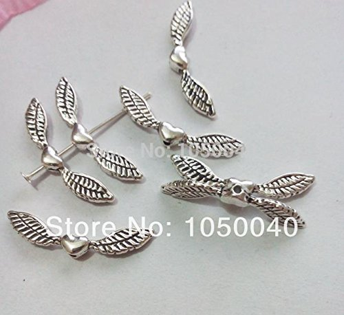 20pcs Tibetan Silver Heart Wings Spacer Bead Charm Jewelry Craft Diy Jewelry Findings (Juicy Couture Wings)