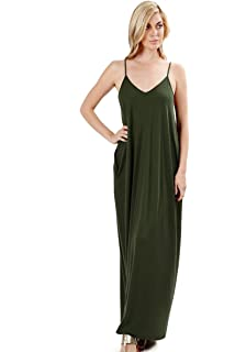 ce024811a4b Zenana Premium Women s Long Maxi Casual Summer Beach Plain Loose Cami Dress  Side Pockets