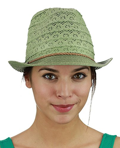 NYFASHION101 Braided Trim Spring Summer Cotton Lace Vented Fedora Hat, Light (Cotton Braided Olive)