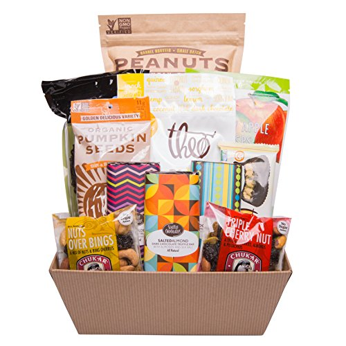 Vegan Gluten Free Snacks and Sweets Food Gift Basket with Chocolate, Pumpkin Seeds, Peanuts, Popcorn and Truffle Bars