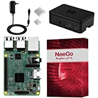 NeeGo Raspberry Pi 3 Kit Pi 3 Model B Barebones Computer Motherboard with 64bit Quad Core CPU & 1GB RAM, Black Pi3 Case, 2.5A Power Supply & Heatsink 2-Pack